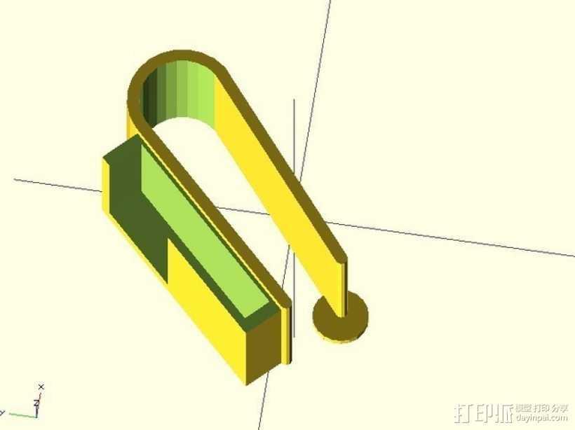 车库门开门夹 3D打印模型渲染图
