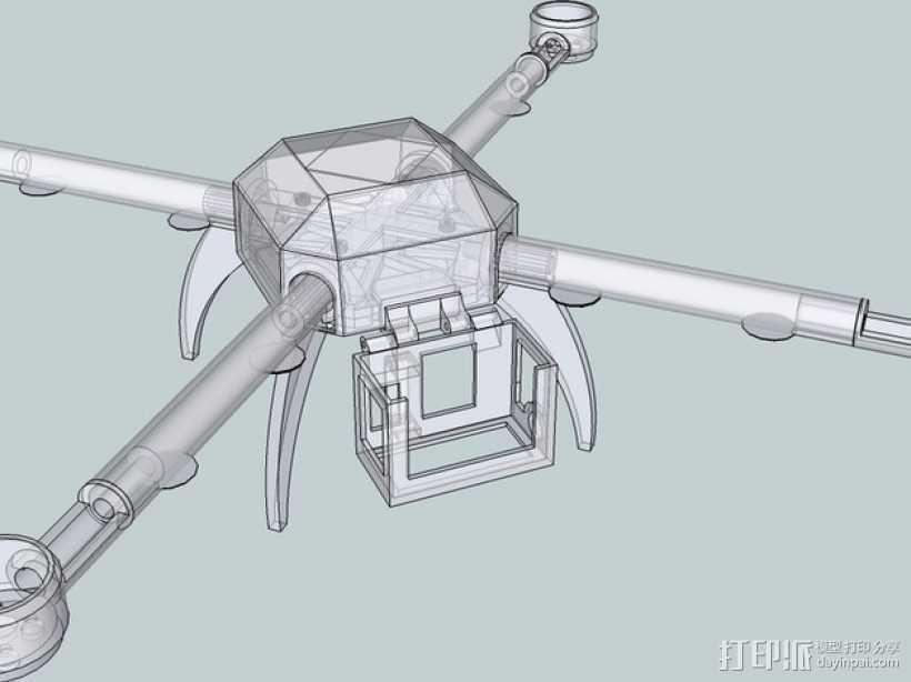 PL2Q Hugin 四轴飞行器 3D打印模型渲染图