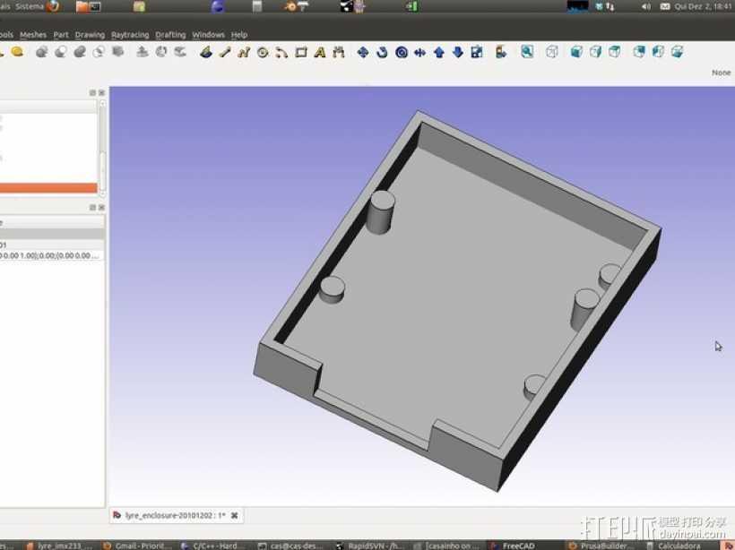七弦琴——可移动音频播放器和录音器外壳 3D打印模型渲染图