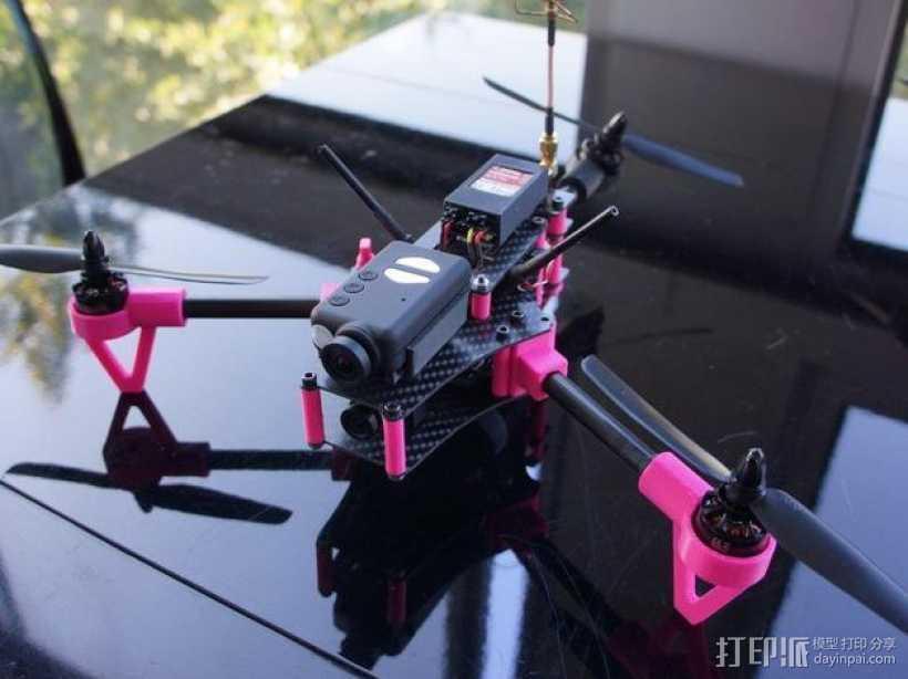 Brocopter Y3:可折叠迷你三轴飞行器 3D打印模型渲染图