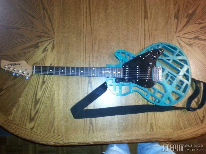 两种风格混合吉他 3D打印模型渲染图