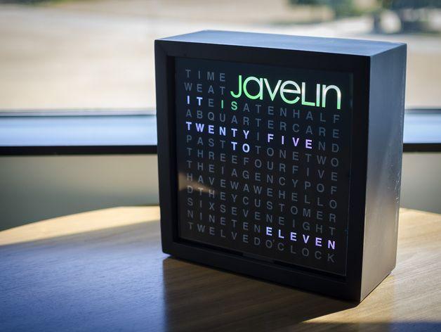 Javelin字时钟隔板 3D打印模型渲染图