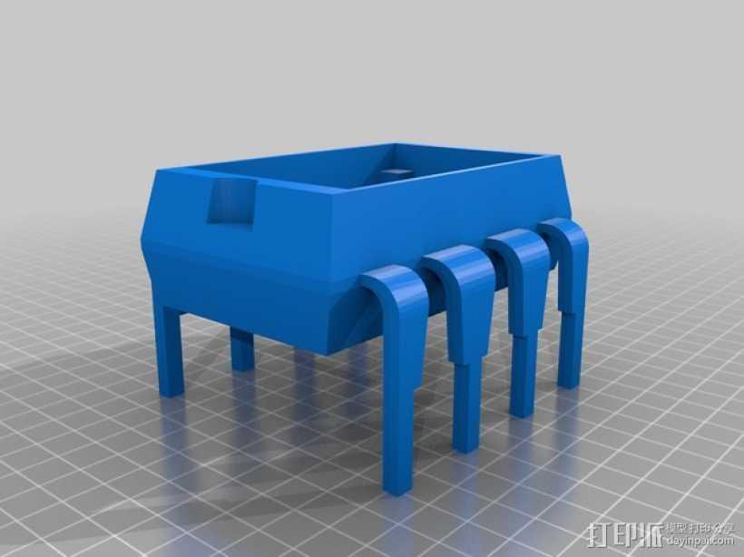 8引脚集成电路/单片机-面包板架和零件盒 3D打印模型渲染图
