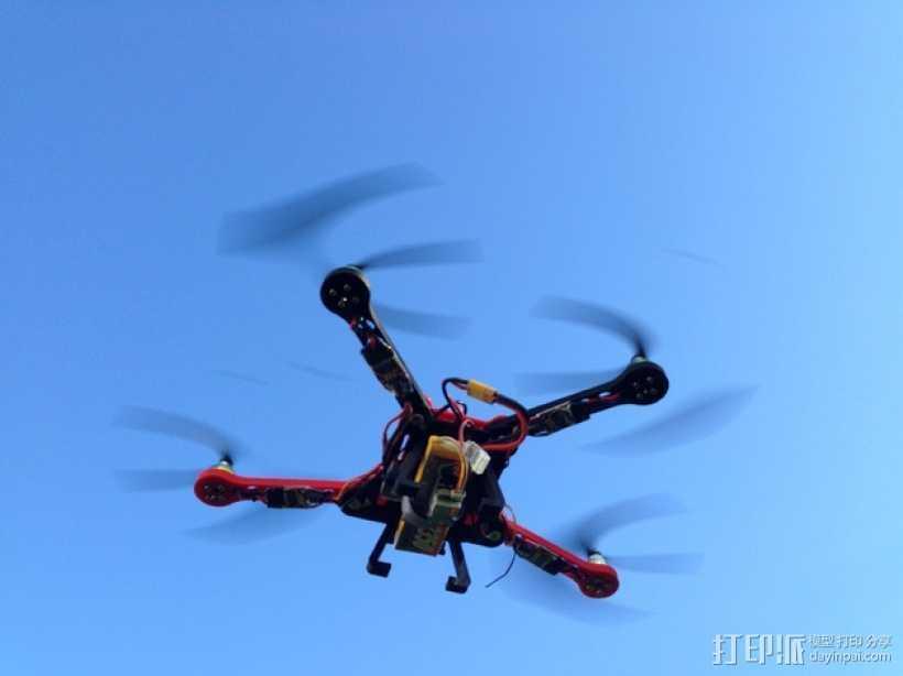 可折叠fpv 四轴飞行器 3D打印模型渲染图