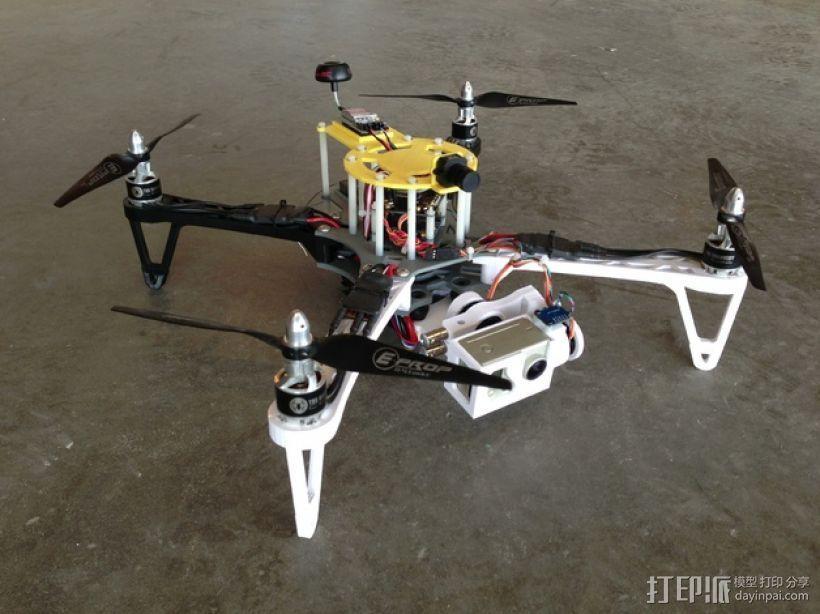 穿越火线号 fpv四轴飞行器 3D打印模型渲染图