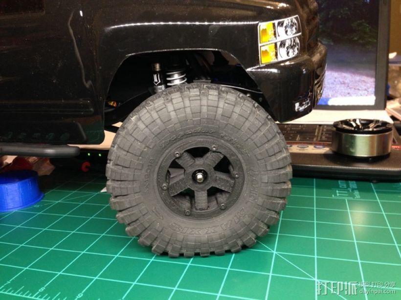 Axial SCX10 和Wraith的1.9夹片锁胎  12mm Hex 3D打印模型渲染图