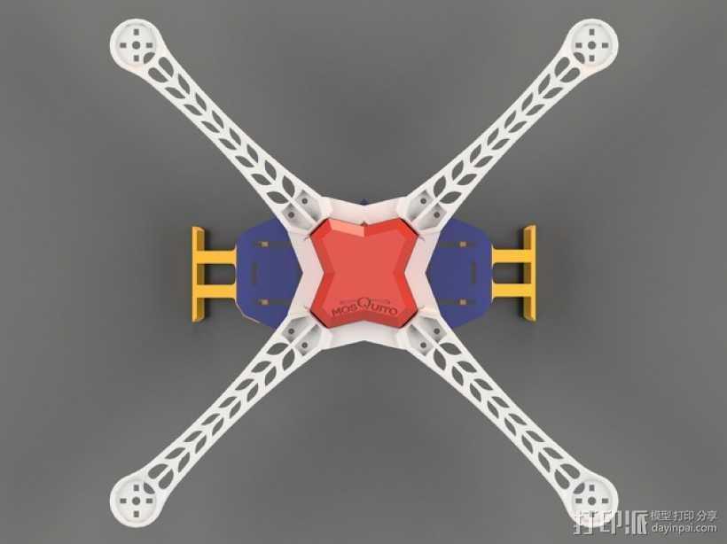 Mosquito V1 四轴飞行器 450机身 3D打印模型渲染图
