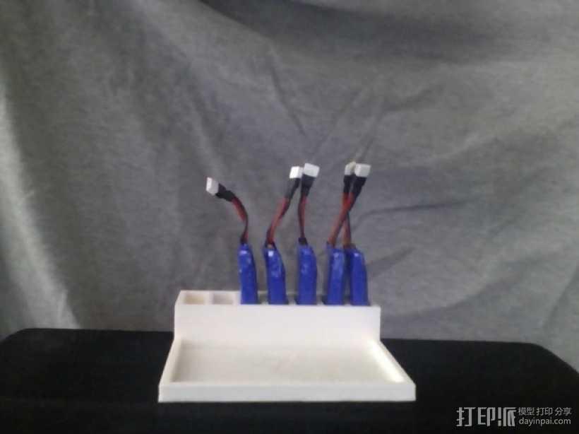 Hubsan X4 四轴飞行器的定制带线电池盒 3D打印模型渲染图