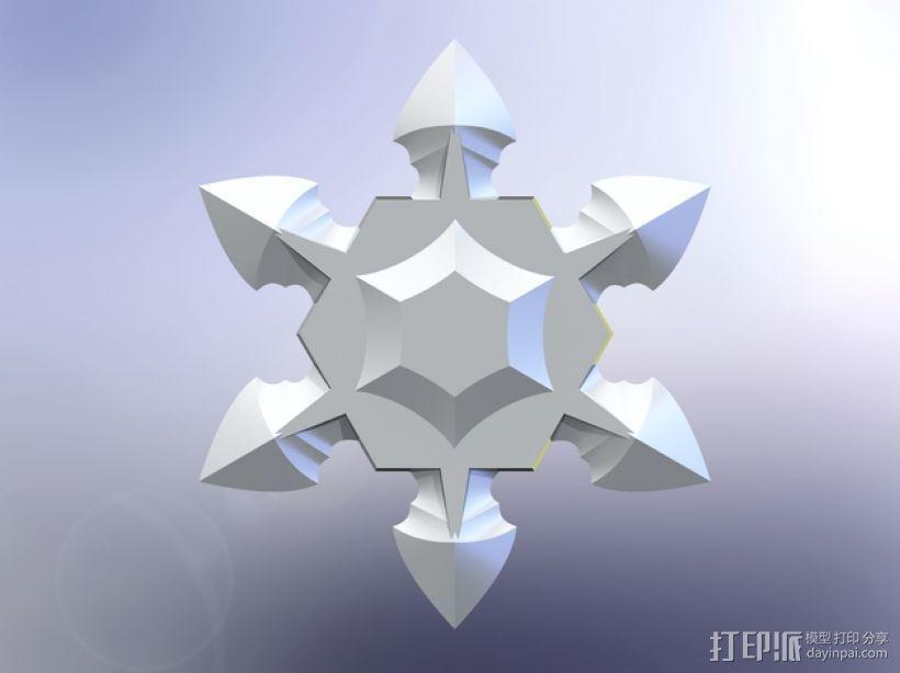 手里剑 3D打印模型渲染图