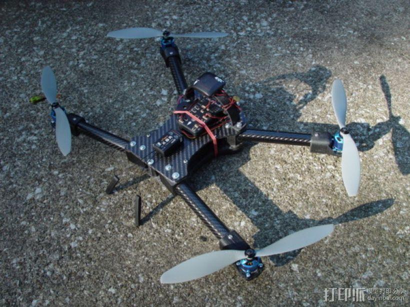 碳纤维 T4四轴飞行器 3D打印模型渲染图
