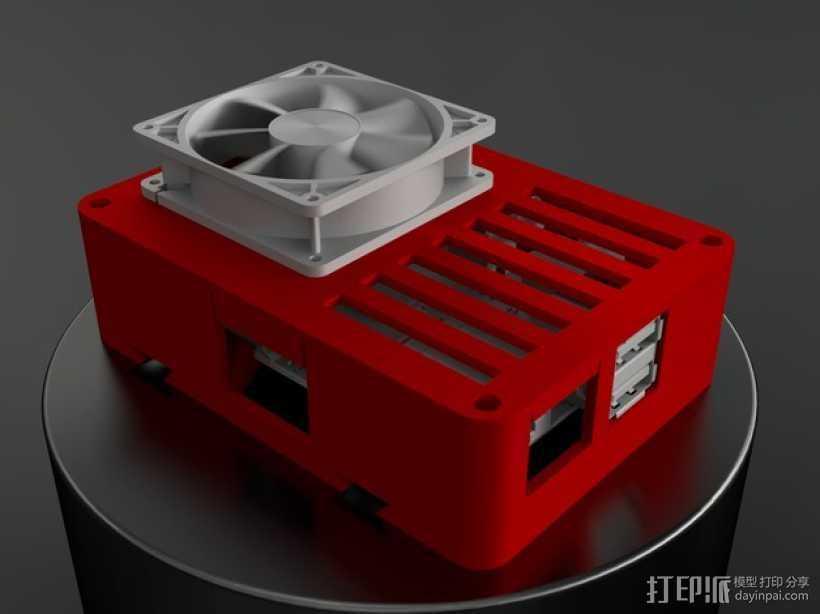 便携式树莓派电路板外壳 3D打印模型渲染图