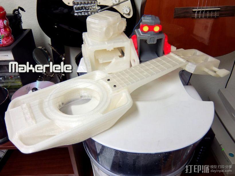 全打印尤克里里 3D打印模型渲染图