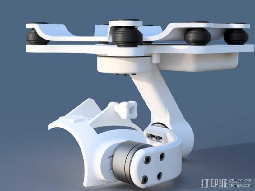 DJI Phantom 2摄像机3D平衡环 3D打印模型渲染图
