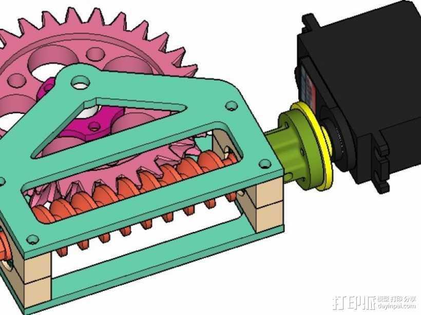 蜗轮减速器  3D打印模型渲染图