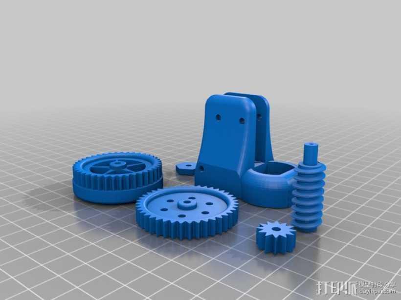 蜗轮齿轮 齿轮箱 3D打印模型渲染图