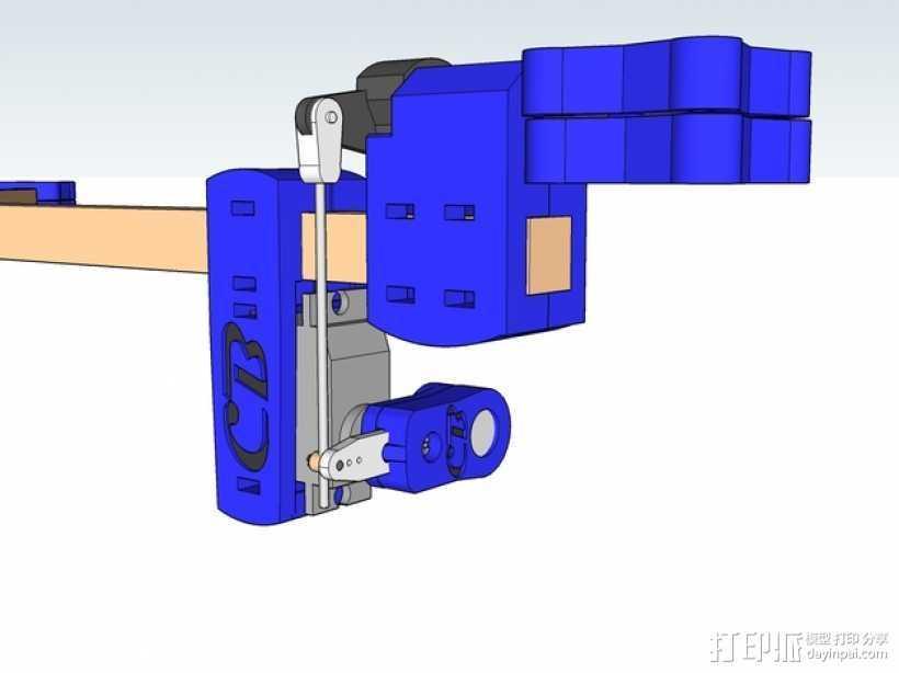 三轴飞行器 通用钩尾 3D打印模型渲染图