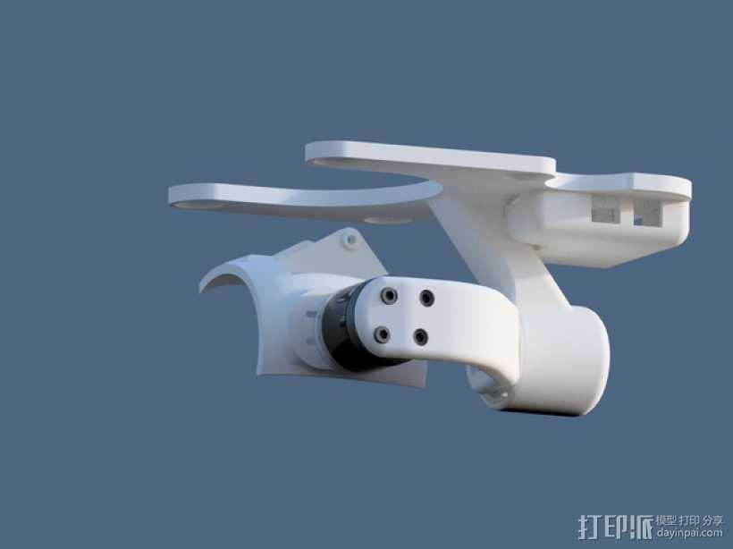 DJI Phantom 2四轴航拍器平衡环 3D打印模型渲染图