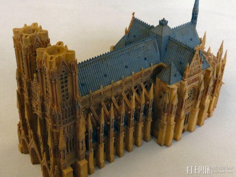 兰斯圣母院教堂 3D打印模型渲染图