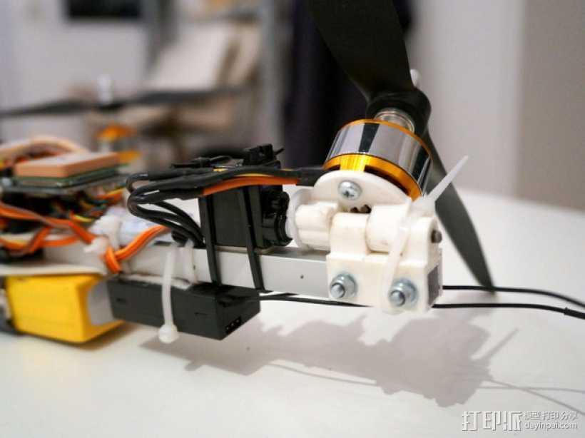 三轴飞行器偏航电机安装架 3D打印模型渲染图