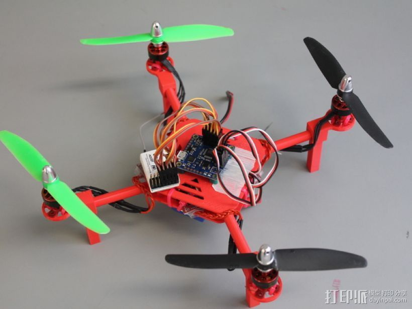 DIY迷你四轴飞行器 3D打印模型渲染图