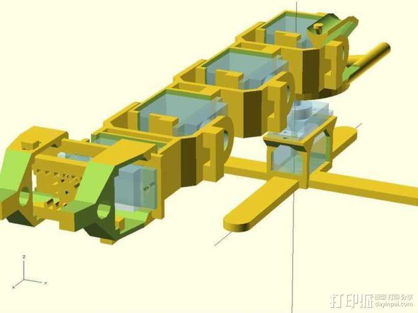 微伺服机械臂 3D打印模型渲染图