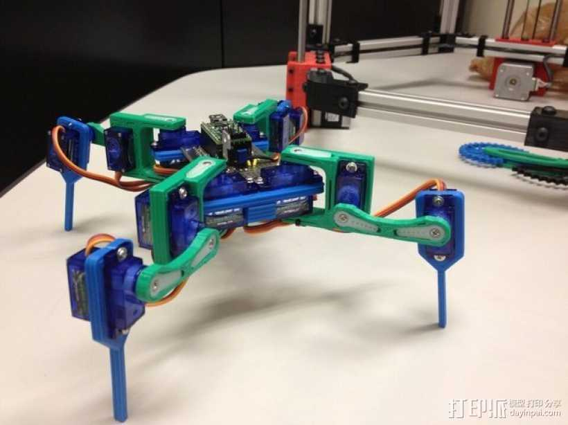 迷你四足机器人 3D打印模型渲染图