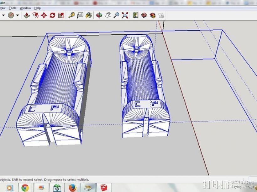 26650 18650电池夹 3D打印模型渲染图