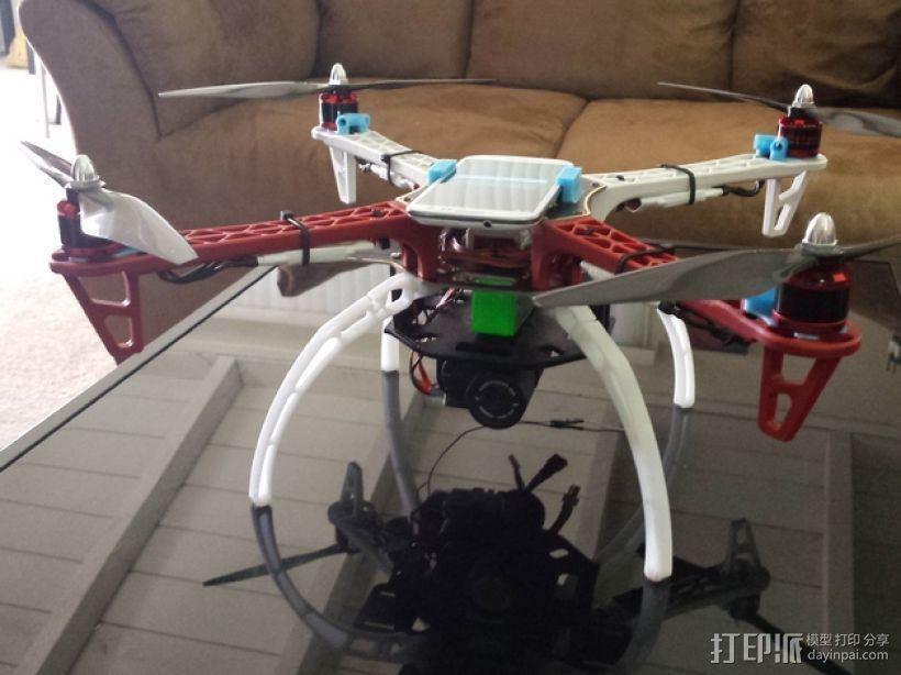 DJI F450四轴飞行器基板和支撑 3D打印模型渲染图