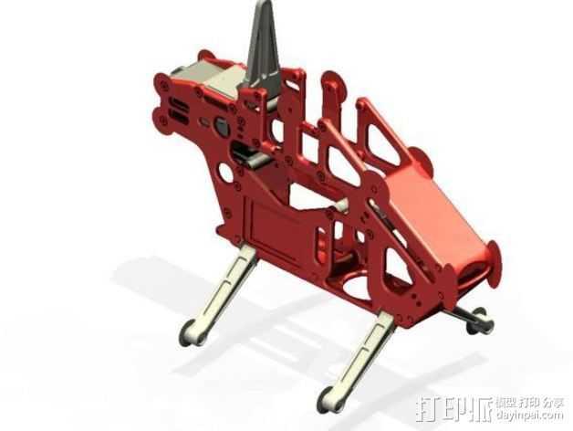 开源遥控直升机  3D打印模型渲染图
