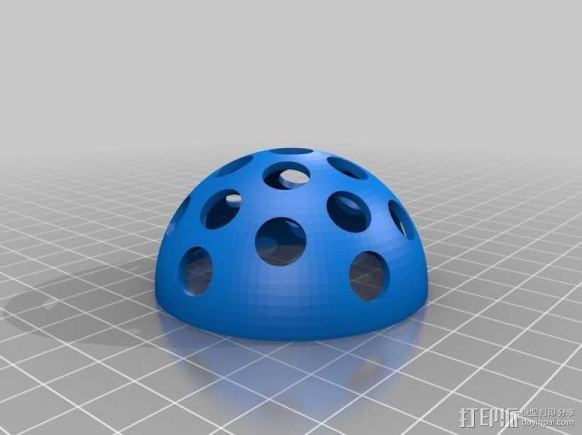 半球LED灯座 3D打印模型渲染图
