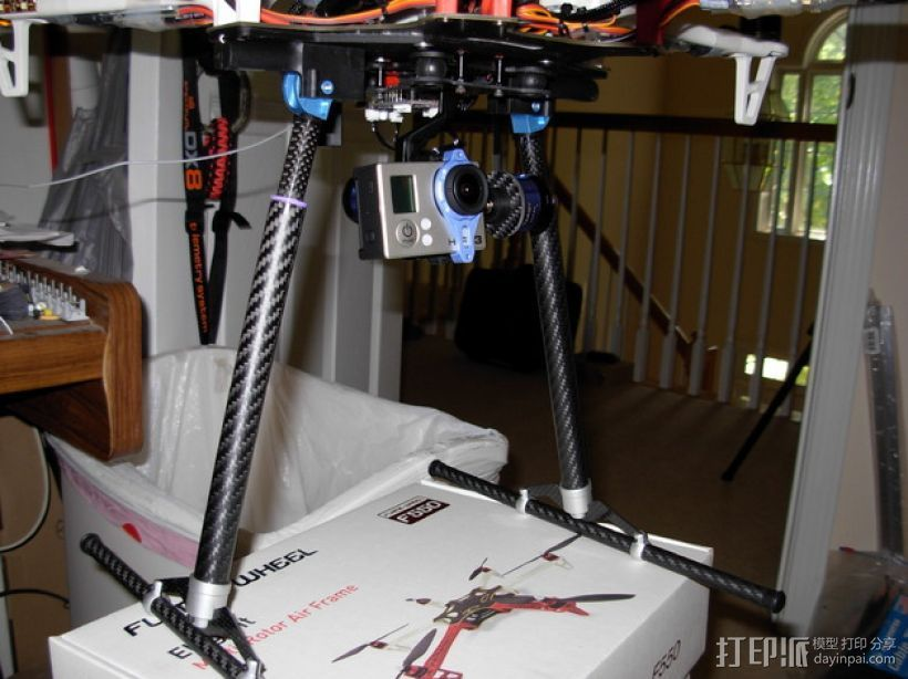 F550多轴飞行器 收放式起落架  3D打印模型渲染图