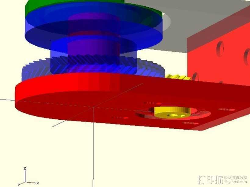 小型绞盘  3D打印模型渲染图