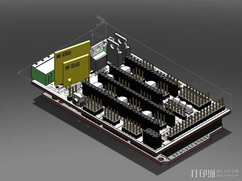 RAMPS 1.4 Ardunio Mega电路板模型 3D打印模型渲染图