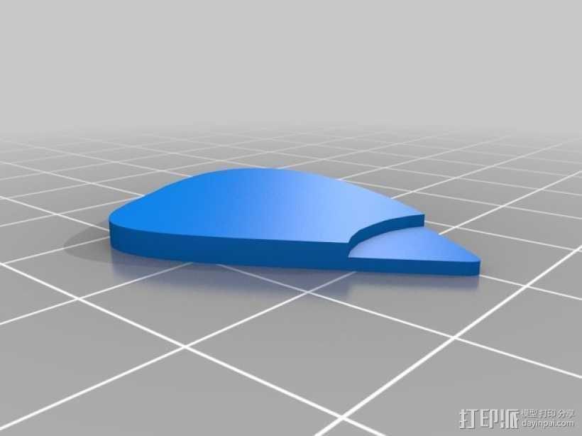 吉他拨片  3D打印模型渲染图