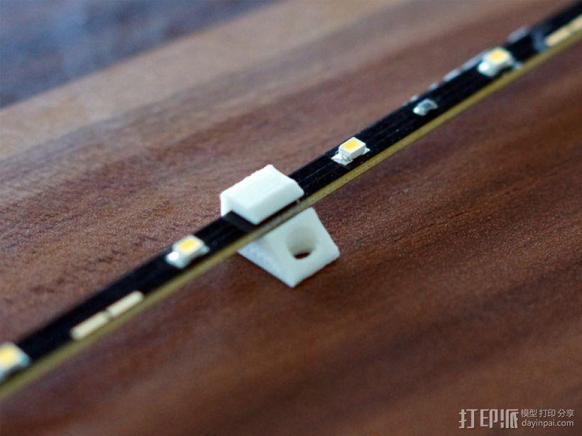 3毫米LED带固定夹 3D打印模型渲染图