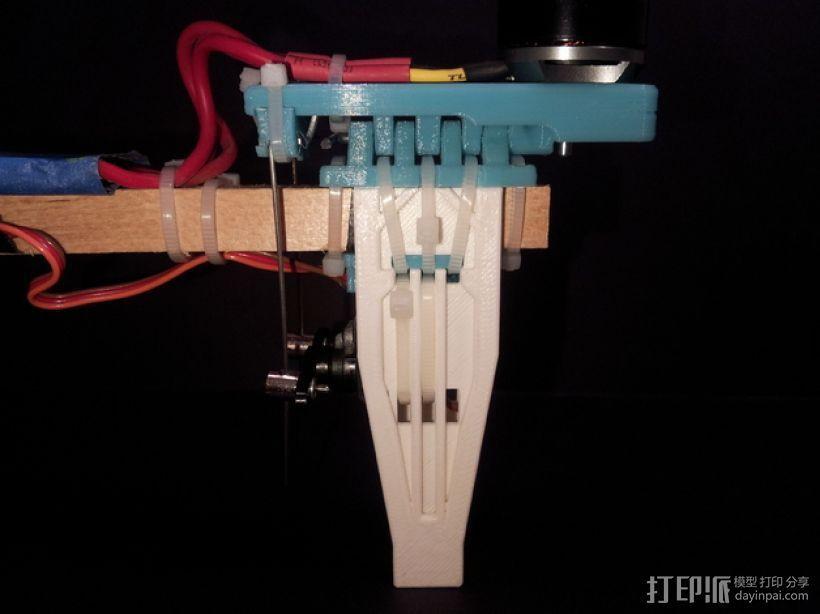 三轴飞行器尾轴系统 3D打印模型渲染图