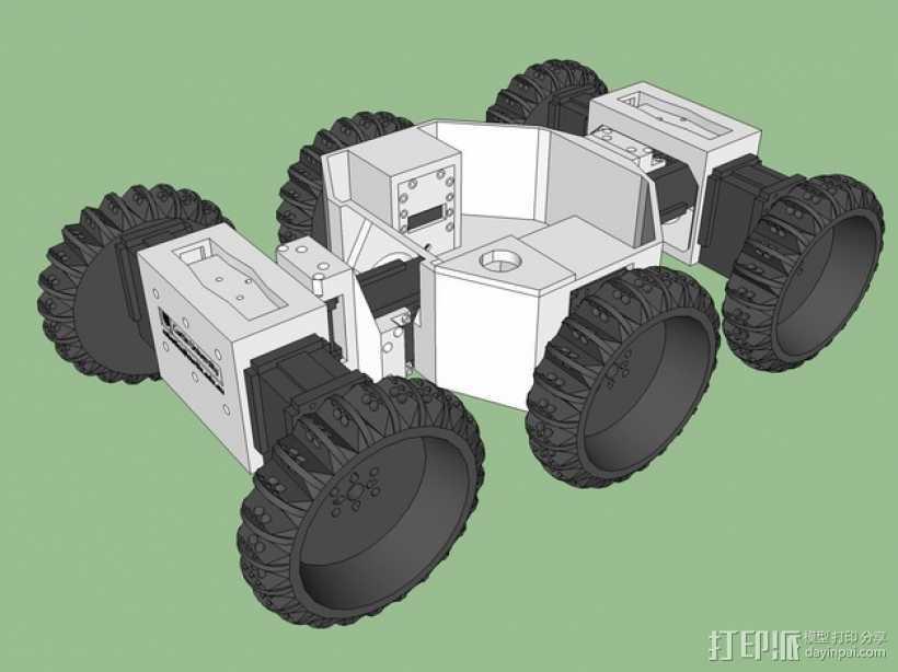 六轮驱动机器人 3D打印模型渲染图