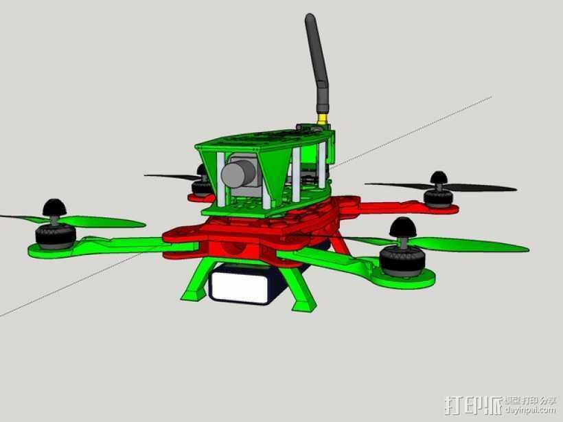 MHQ四轴飞行器框架 3D打印模型渲染图