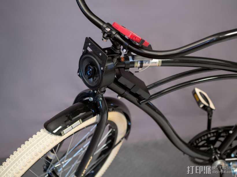 DIY自行车音响设备支架 3D打印模型渲染图