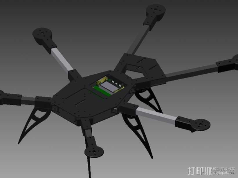 多轴飞行器零部件 3D打印模型渲染图