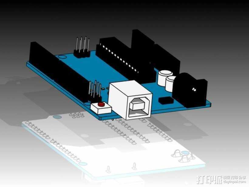 Arduino Uno电路板 3D打印模型渲染图