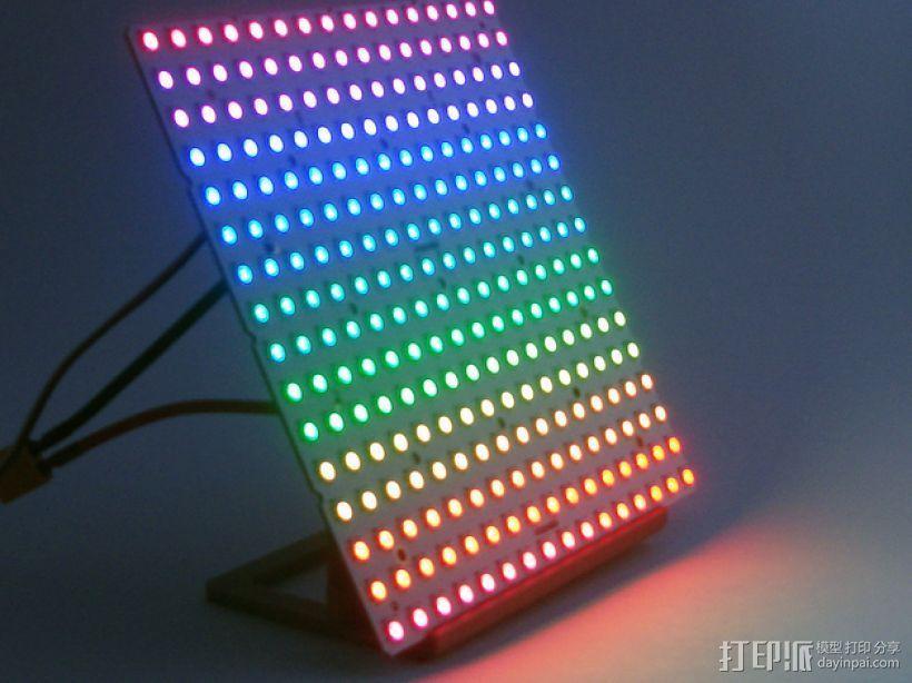 矩形LED彩灯底板 3D打印模型渲染图