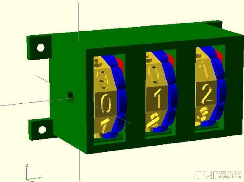 参数化密码锁 3D打印模型渲染图
