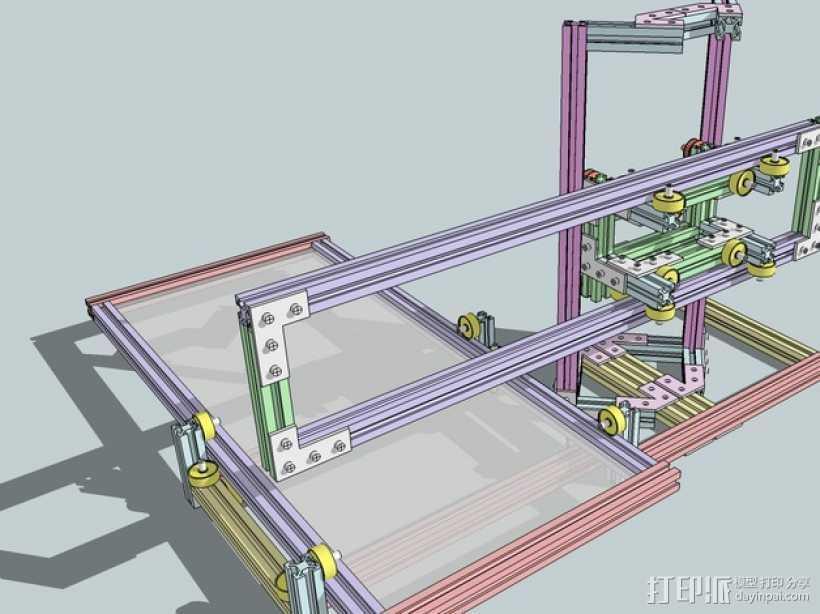 CNC设备框架 3D打印模型渲染图