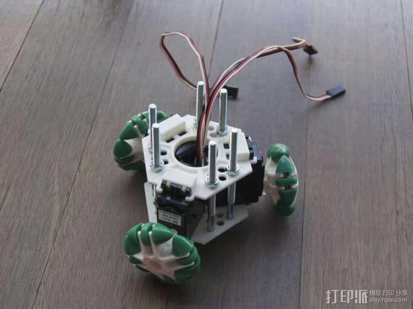 迷你万向轮机器人支架 3D打印模型渲染图