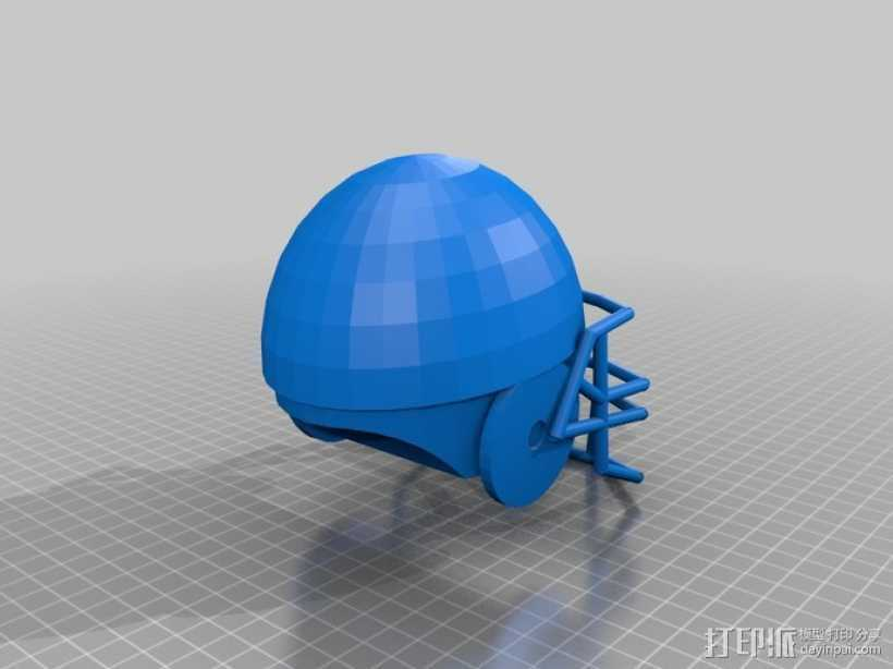 橄榄球头盔 3D打印模型渲染图