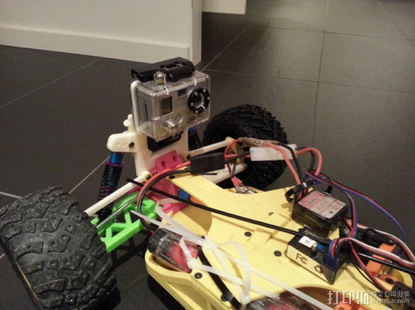 遥控赛车 GoPro相机支架 3D打印模型渲染图