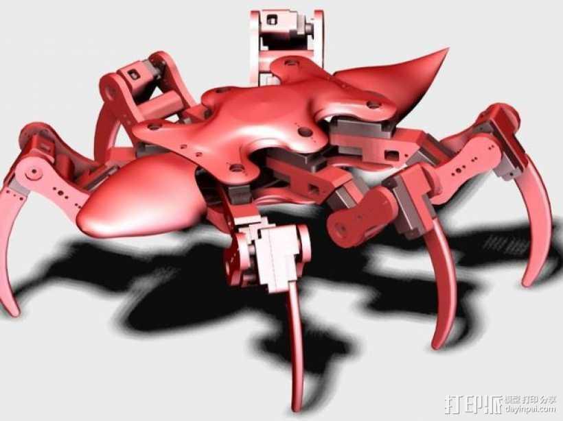 六足机器人 3D打印模型渲染图