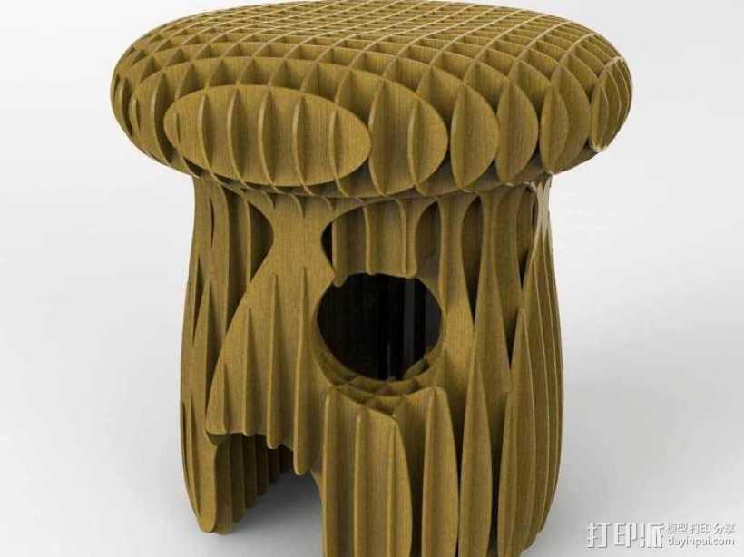 蘑菇 凳子 3D打印模型渲染图