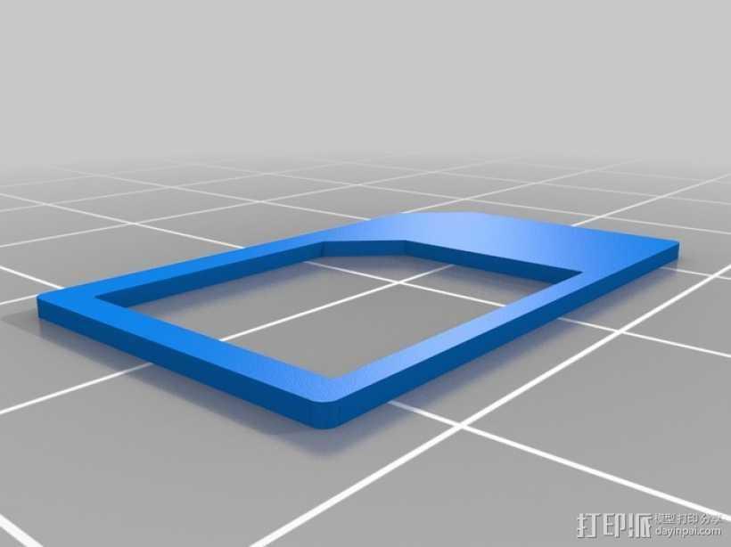 迷你SIM卡配适器 3D打印模型渲染图